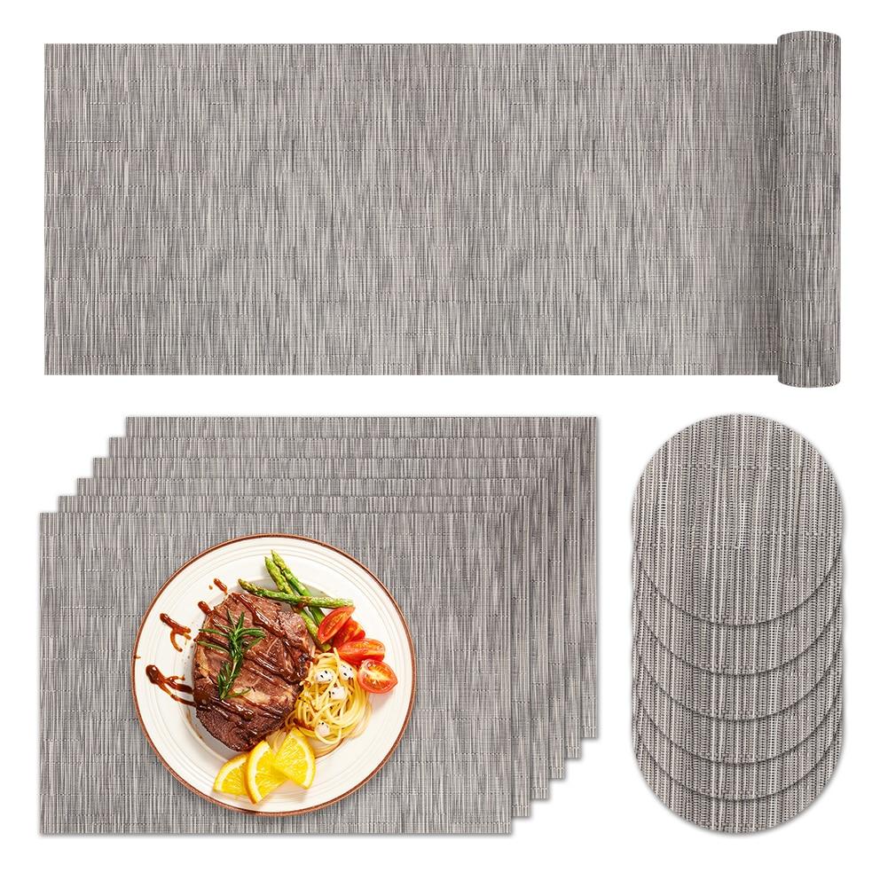 مفرش طاولة من الفينيل PVC ، لون خالص ، مقاوم للحرارة ، نمط حديث ، ملحقات تزيين الطاولة للمنزل