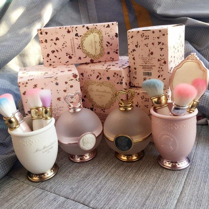 Corona de Oro maquillaje cara mejilla polvo contenedores hierba lujo cepillos de titular contenedor de almacenamiento de herramienta de belleza