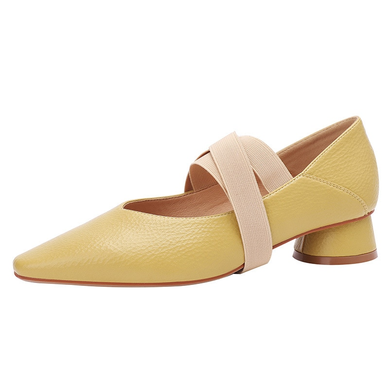 Casual Women Shoes Summer 2021 Spring Shoe Woman Square Heels Professional High Heel Shoes Large Size Square Toe Pumps O0075