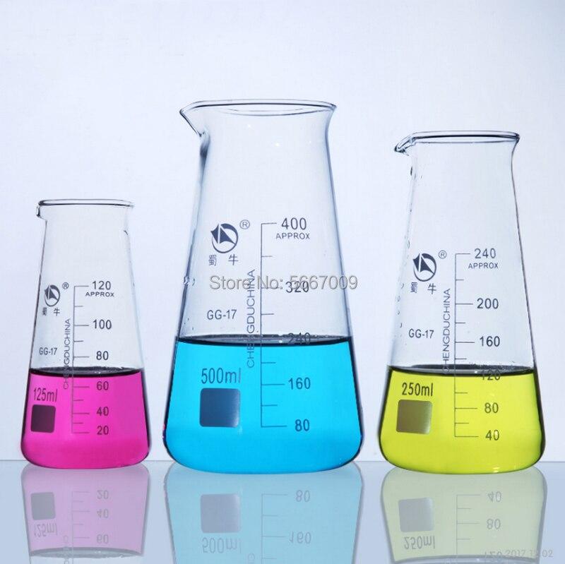 1PC 125ml 250ml 500ml conique trois coins verre bécher laboratoire de chimie Borosilicate Triangle verre bécher avec bec verseur