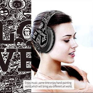 2021 New  Wireless BT 5.0 Over Ear Headest Graffiti Folding Design with Microphone Hi-Fi Stereo for The Laptop PC Phone