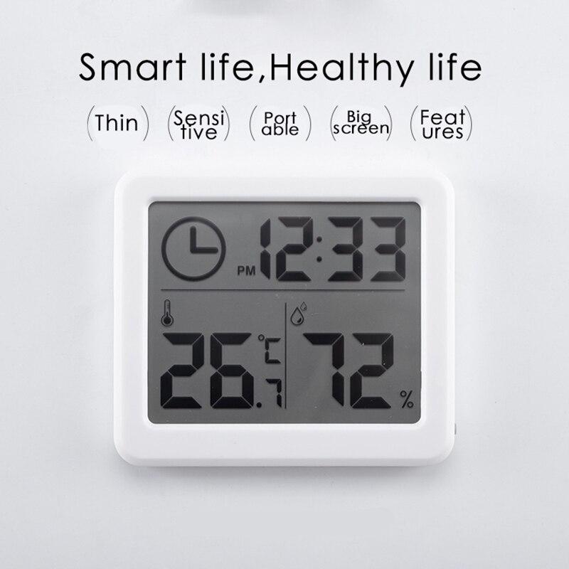 Blanco Automático electrónico de temperatura humedad Monitor reloj pantalla LCD grande termómetro multifunción higrómetro