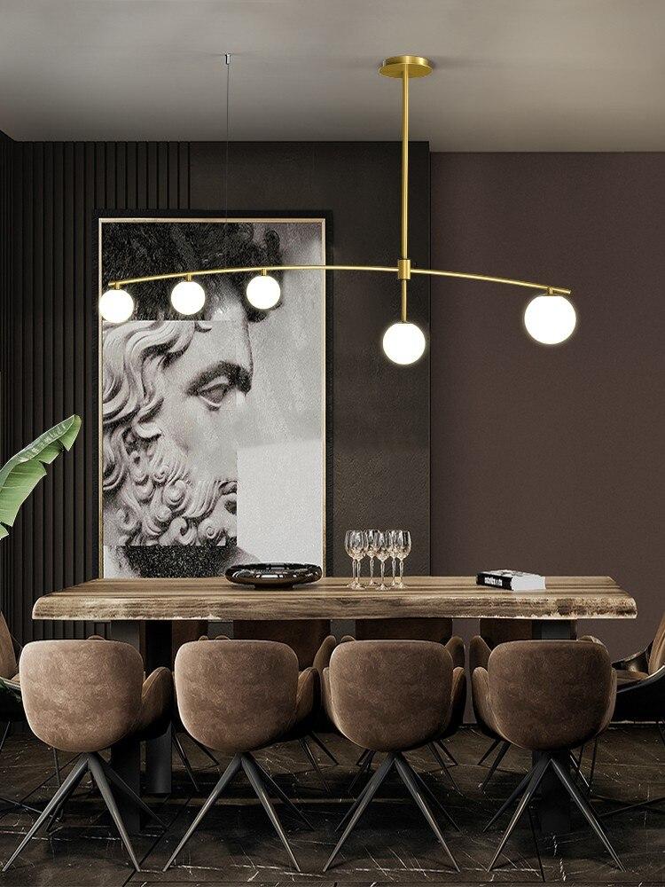Minimalistischen Schwarz Oder Gold Kronleuchter Moderne Glas Ball G9 LED Hängen Licht Für Esszimmer Kaffee Shop Bar Lange Anhänger lampe