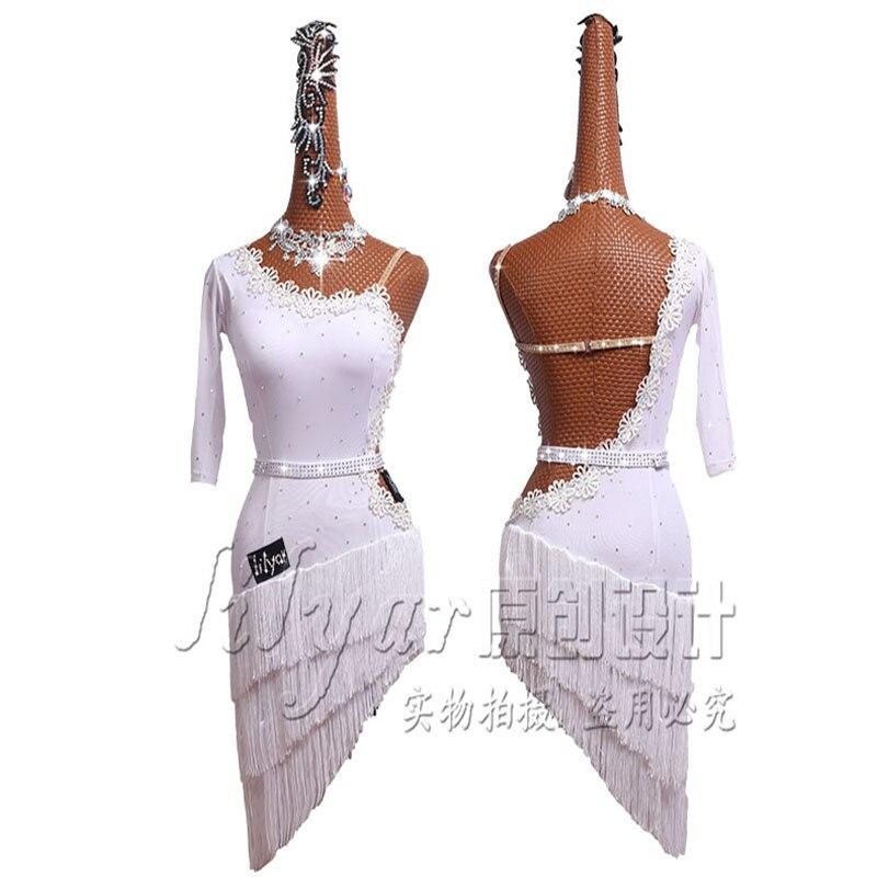 Nuevo vestido de baile latino falda Latina vestido de competición disfraces vestido escénico brillantes Diamante de imitación personalizar niños borla blanca