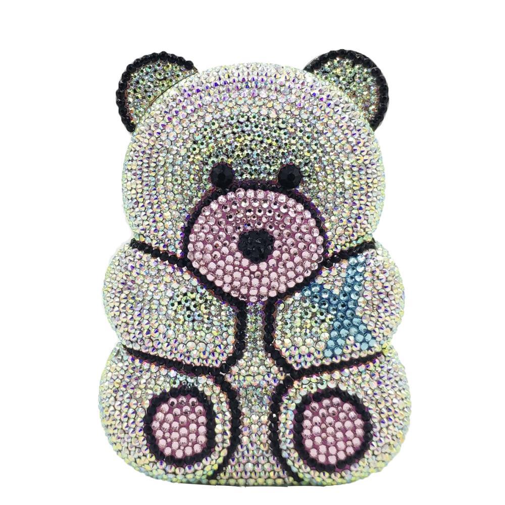 Boutique De FGG 3D ours en peluche forme femmes argent rose cristal AB soirée embrayage sacs à main et sacs à main diamant sac De fête De mariage