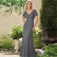 graceful 2020 new gray lace mermaid short sleeve mother of the bride dresses v neckline wedding guest gowns back out