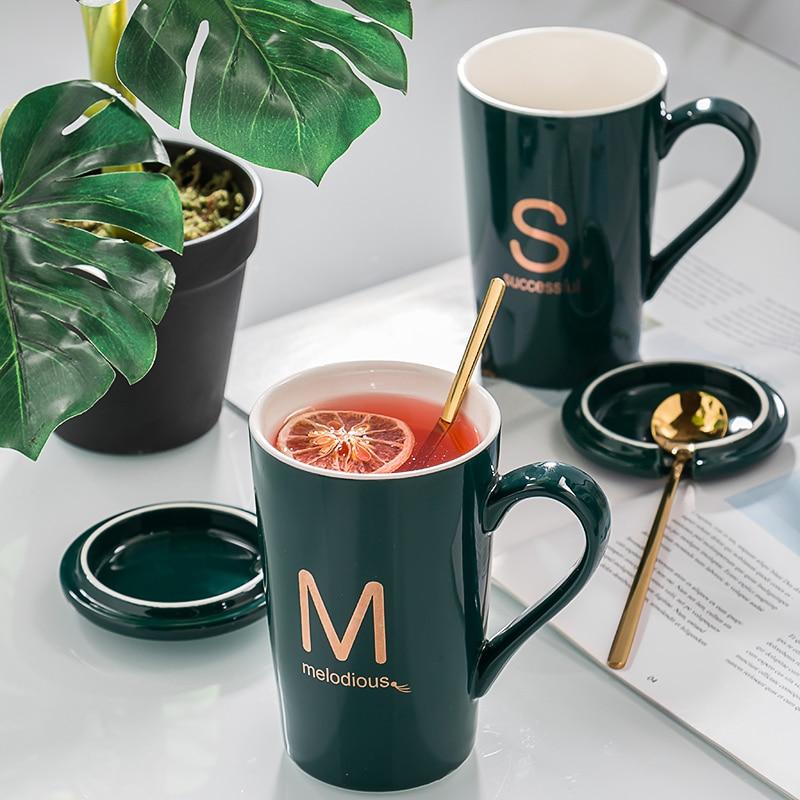 Taza con apellido alfabético Personal con tapa, juego de té, tazas de viaje, tazas de café novedosas, grandes y creativas, tazas de porcelana latte para regalo
