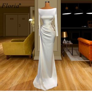 Arabic White Formal Prom Dresses 2020 Long Mermaid Flowers Evening Dresses Turkish Couture Wedding Party Dresses Robe Longue