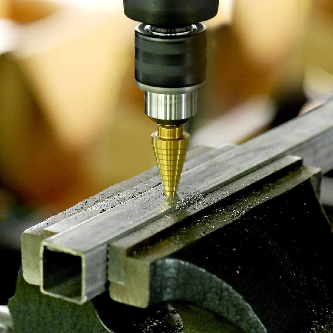 3pcs/set 3-12mm 4-12mm 4-20mm HSS Straight Groove Step Drill Bit Set Titanium Coated Wood Metal Hole Cutter Core Drill Bit Set