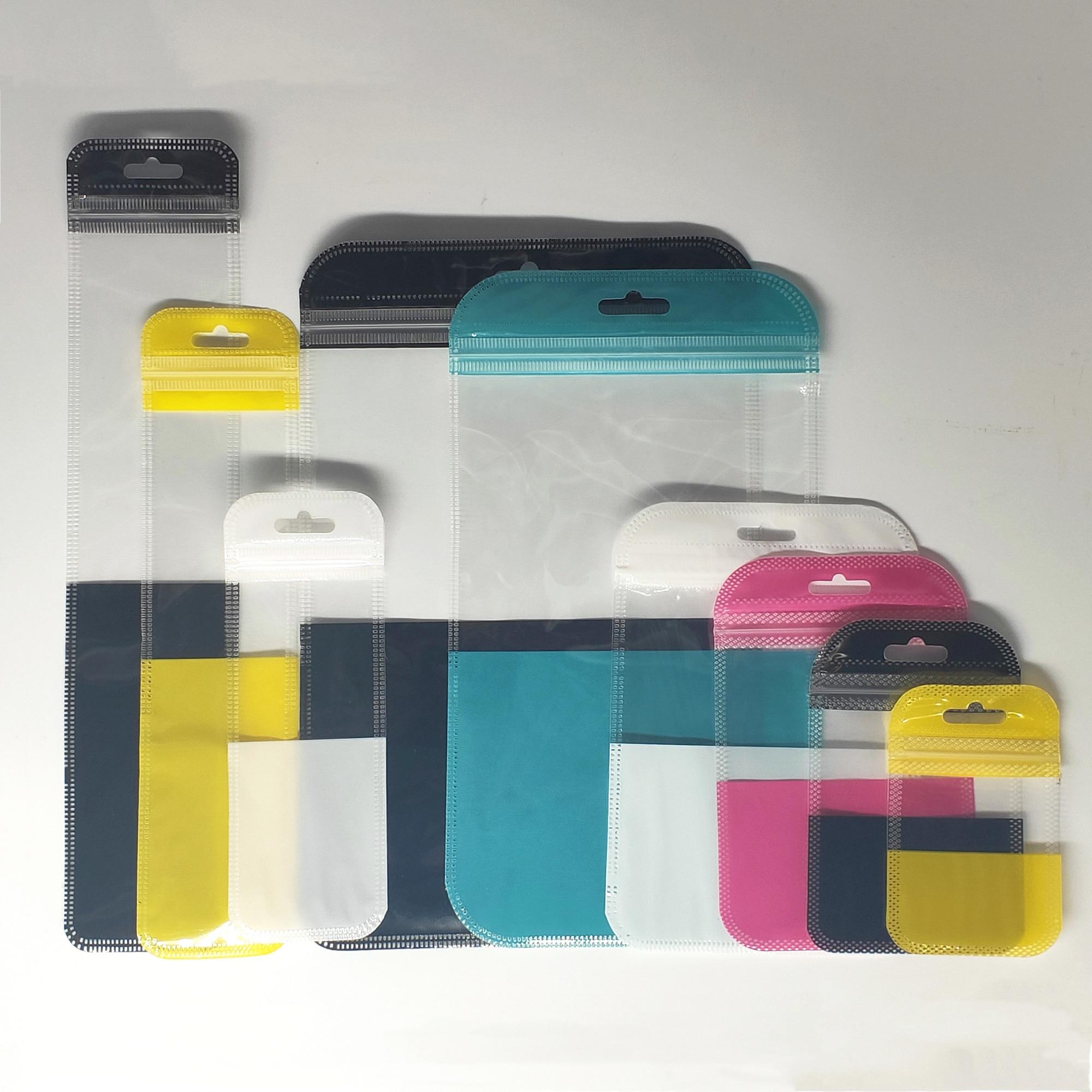 Hogar diversos plástico bolso carcasa de teléfono bolsa de almacenamiento con ziplock bolsas Cable USB bolsas planas PP bolsas de embalaje con agujero de mariposa