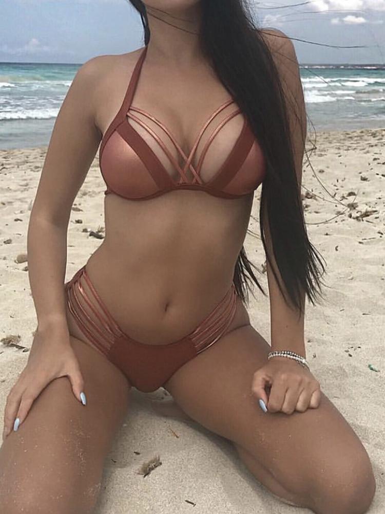 Irisapparels 2020 dames Sexy bronzage tissu couture Bikini fendu maillot de bain femmes taille haute maillots de bain