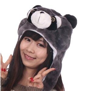 JOYHY Womens Teenages Kids Girls Boy Cartoon Eapflap Animal Hats Cute Raccoon Shark Wolf Plush Winter Warm Beanie Cap Cosplay