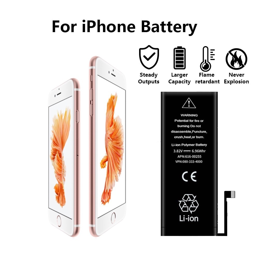New 100% AAA Grade Phone battery For iPhone SE 5S 5 6 6S battery 6 6s 7 8 Plus X XR XS Max Replacement built-in lithium battery enlarge