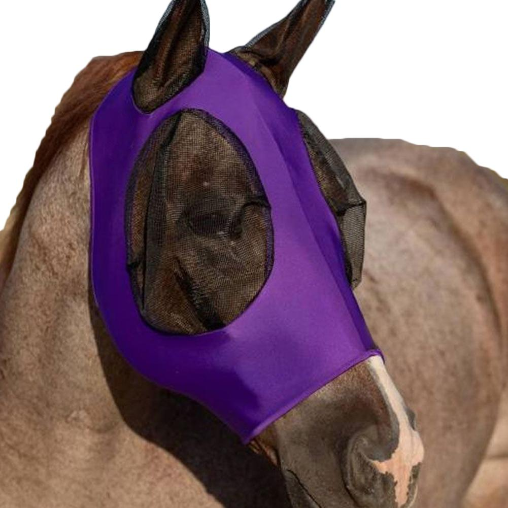 Breathable Anti Mosquito Fly Elastic Horse Face Cover Protection Decor Face Shields with Ears Horse