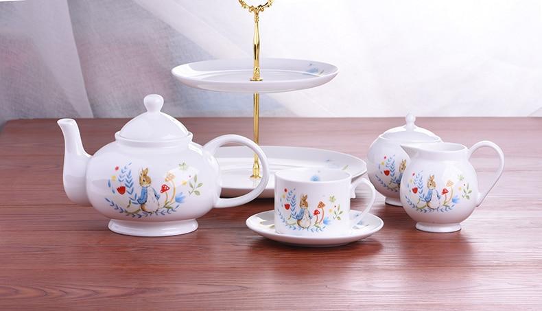 Tetera de conejo de dibujos animados, tetera, regalo encantador, tazas para beber café, tazas de leche, jarra de caramelo, platos, juego de taza de té y plato