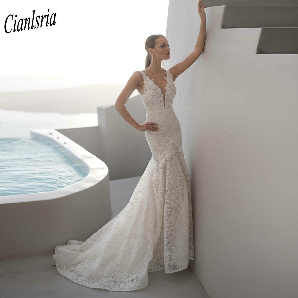 فستان زفاف حورية البحر من الدانتيل ، ساحر ، ياقة عميقة على شكل v ، أكمام طويلة ، بدون أكمام ، رسن ، طويل ، فستان زفاف