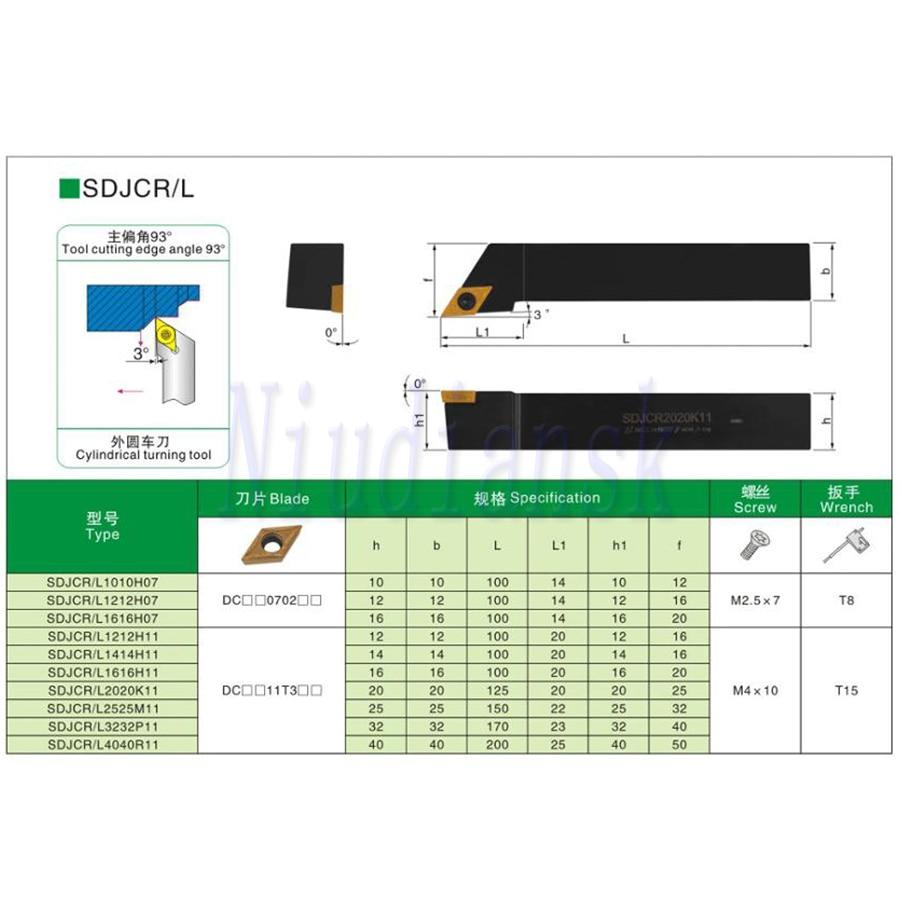 10pcs DCMT0702 DCGT CNC Lathe Carbide Insert SDJCR1010H07 SDJCR1212H07 SDJCR1616H07 External Tool Holder SDJCL Arbor Turning Set enlarge