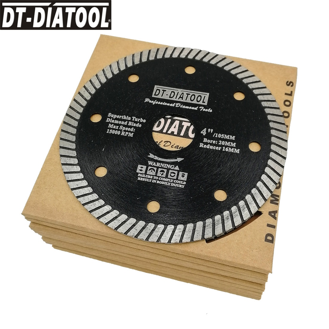 DT-DIATOOL 10pcs/pk Diamond Super Thin Saw Blades Dry or Wet Cutting Disc For Ceramic Tile Granite bore 20mm  Dia 105mm