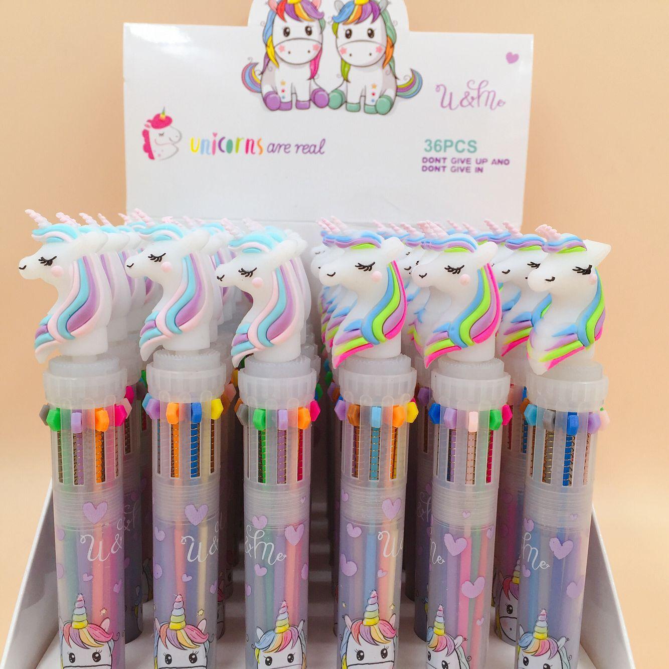 Precioso unicornio potencia 10 colores bolígrafo grueso escuela Oficina regalo papelería Escolar