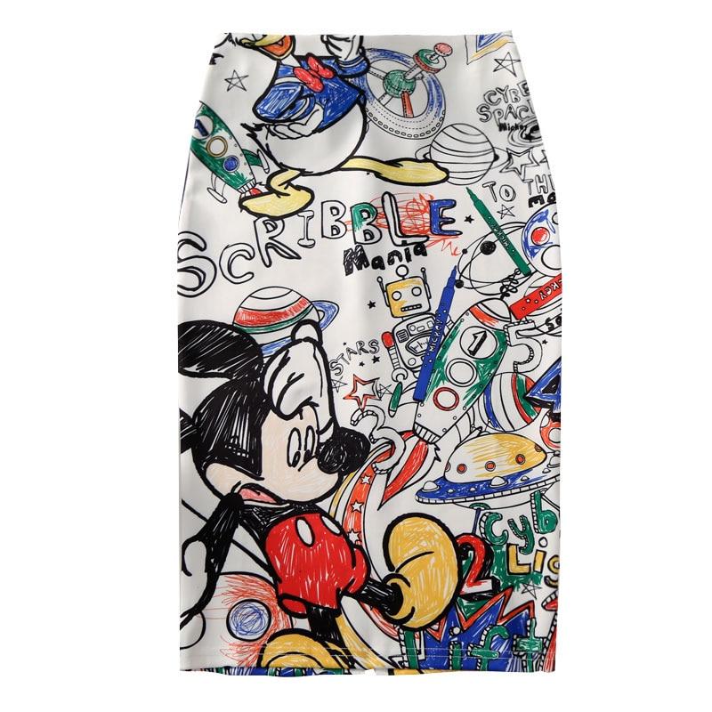 Femmes jupe crayon 2019 nouveau dessin animé souris imprimer taille haute mince jupes jeune fille été grande taille japon femme Falda SP534