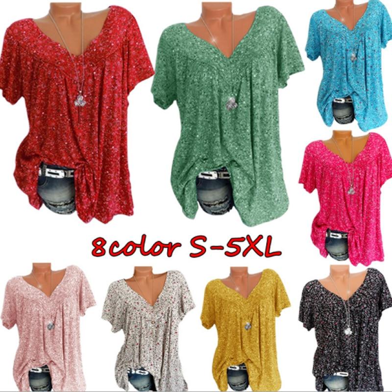 AliExpress - Fashion Printed T-Shirt Casua Summer tshirt Ladies V-Neck Tunic Tops Female Plus Size  Women Short Sleeve Shirt Blusas Pullover