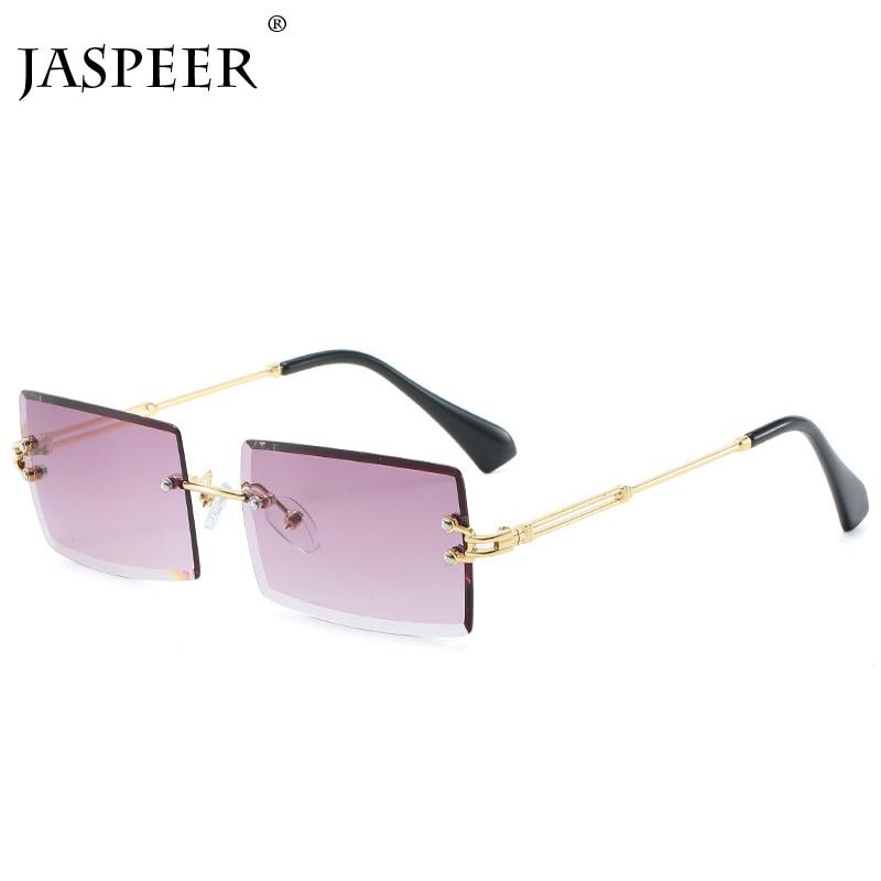 JASPEER New Rimless Rectangle Sunglasses Women Men Shades Brand Designer Gradient UV400 Sun Glasses