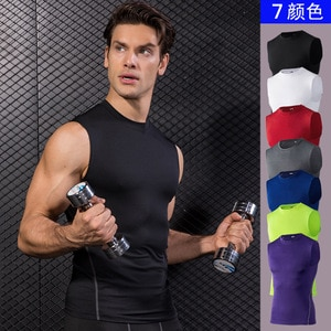 Running Vest Men Gym Tank Top Tight Clothing Compression Sportswear Quick Dry Tights Elastic Summer Fitness Joggers Clothes