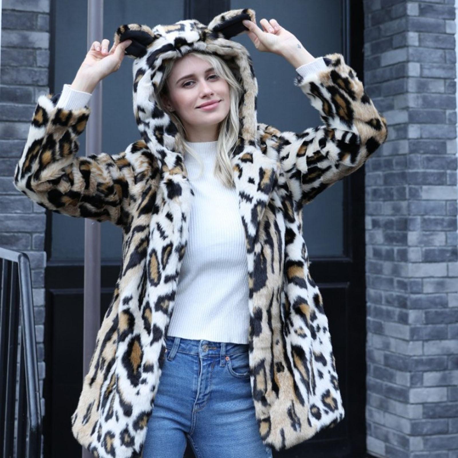 Women Winter Warm Coats Ear Hooded Faux Furs  Jacket Shaggy Winter Outwear coat women