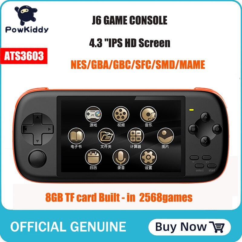 POWKIDDY J6 consola de juegos portátil 4,3 pulgadas IPS HD pantalla 1000 mA 8GB simulador arcade mame integrado en 2300 juegos para niños Gif