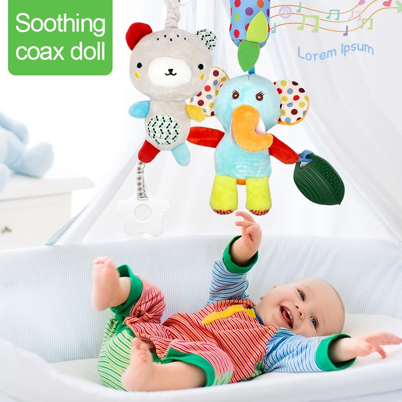Baby Rattles Toddler Toys Bed Hanging Toys For Newborn Baby Soft Bed Bell Animal Musical Montessori