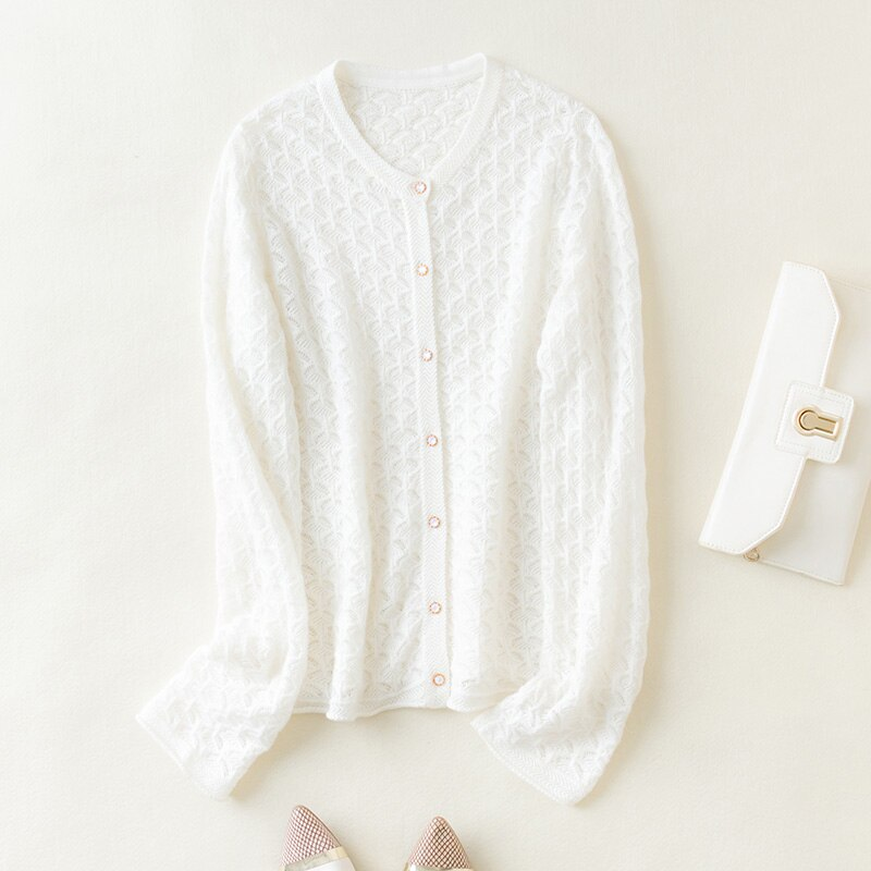 MeetMetro New Women Sweater Cardigan 100% Merino Wool Knitted Cardigan Autumn Fashion Vintage Sweater Long Sleeve Knit Sweaters enlarge