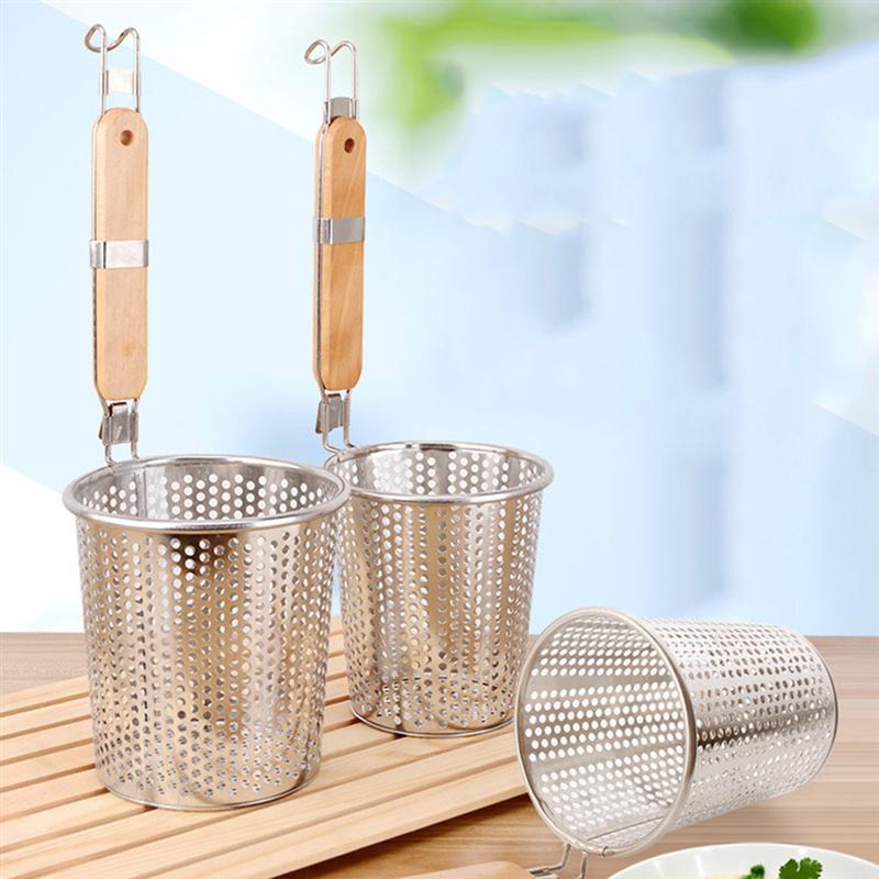Корзина для сита из нержавеющей стали с деревянной ручкой, тонкая сетка, кухонный сито для пасты, пельменей, лапши