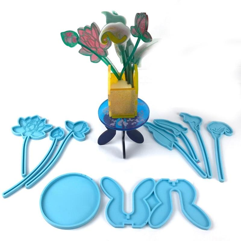2021 New 4Pcs Flower Bottle Tray Silicone Resin Molds Kit  Lotus Flower Lily Flower Molds