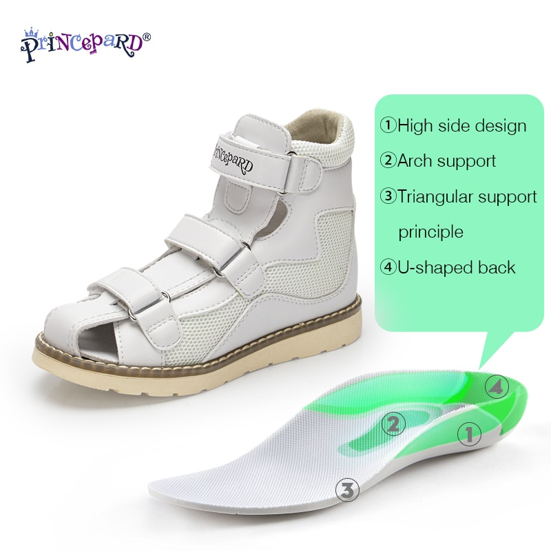 Princepard Orthopedic Sandals for Girls 2021 Spring Leather Children Shoes Pink Grey Toddler Boys Sandalias with Ankle Support enlarge