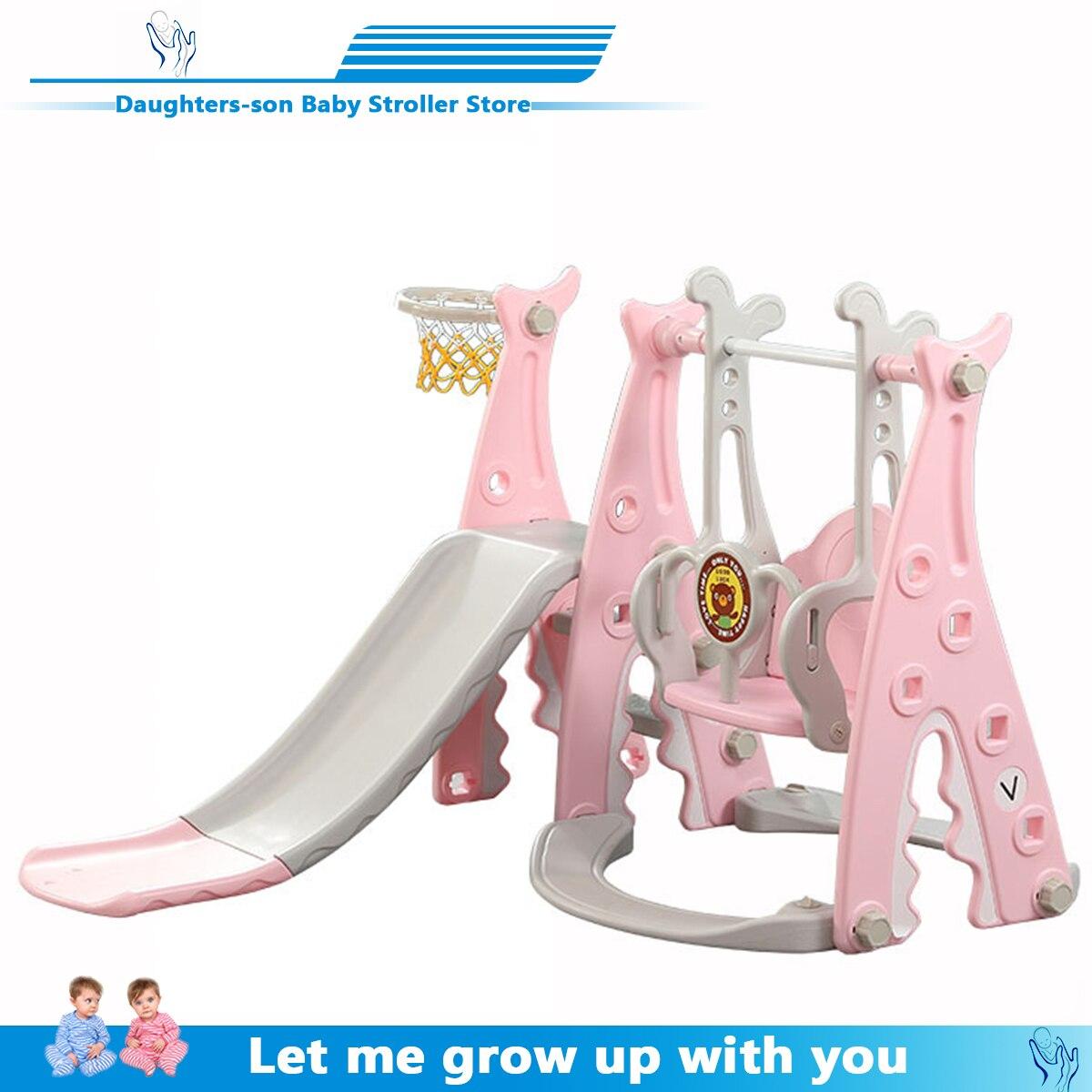 Детская горка и качели, детская крытая игровая площадка для детского сада, пластиковая многофункциональная горка для детей, три в