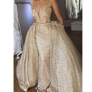 Mermaid Evening Dresses 2021 New Women V-Neck Formal Party Vestidos De Gala Elegant Luxury Graduation Champagne Long Prom Gowns