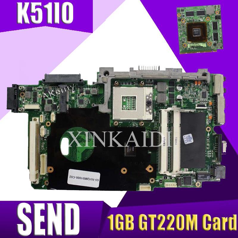 Placa base laotop XinKaidi + tarjeta gráfica de vídeo VGA de 1GB GT220M para ASUS K51IO K61IC K70IO X66IC K70IC X70I, placa base para ordenador portátil