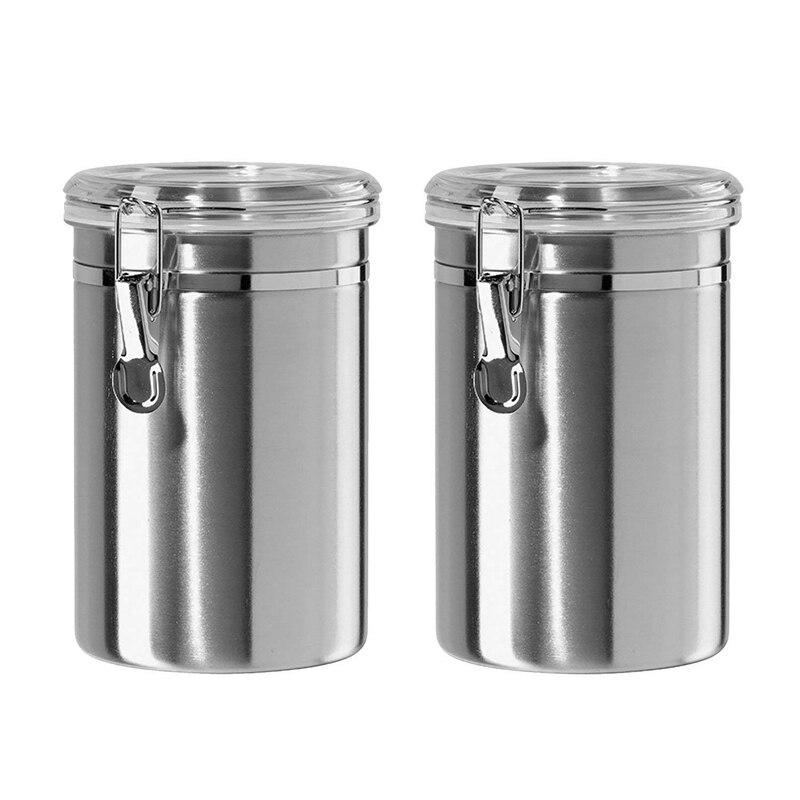 Fácil-Juego de recipientes herméticos para la cocina de acero inoxidable-hermoso para mostrador de cocina, pequeño de 32 onzas, contenedor de almacenamiento de alimentos