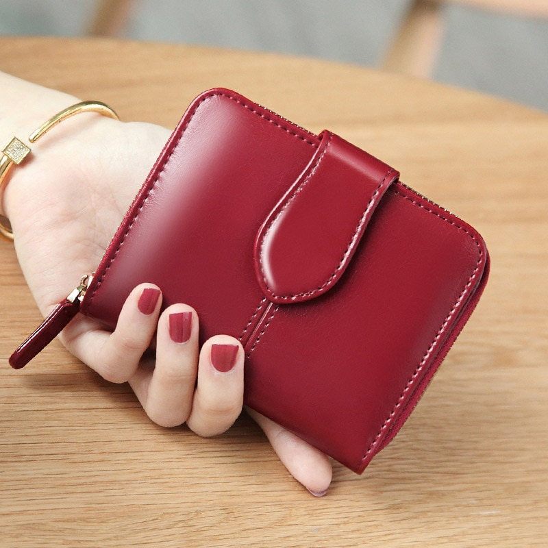 Oil Wax Women Wallet Genuine Leather Small Short Card Holder Ladies Coin Purse Women Wallets 2021 Red Yellow Fashion Money Bag contact s fashion genuine leather women wallet small standard wallets coin bag brand design lady purse card holders red brown