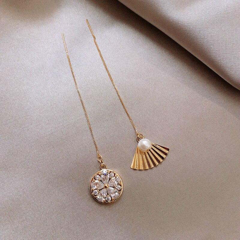 Pendientes de perlas simples chinos con forma de abanico superinmortales asimétricos disco delicado de lujo ligero