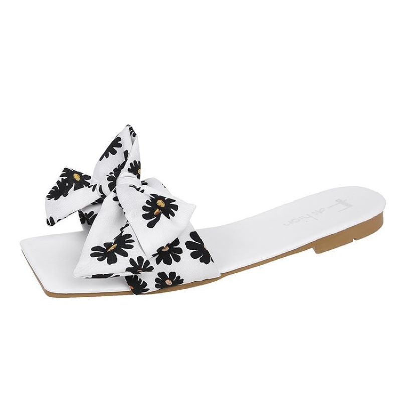 Women's Slippers Daisy Bow-knot Type Ladies Open Toe Sandals Sweet Girls Fashion Square Toe Slides Summer 2021 Female Casual