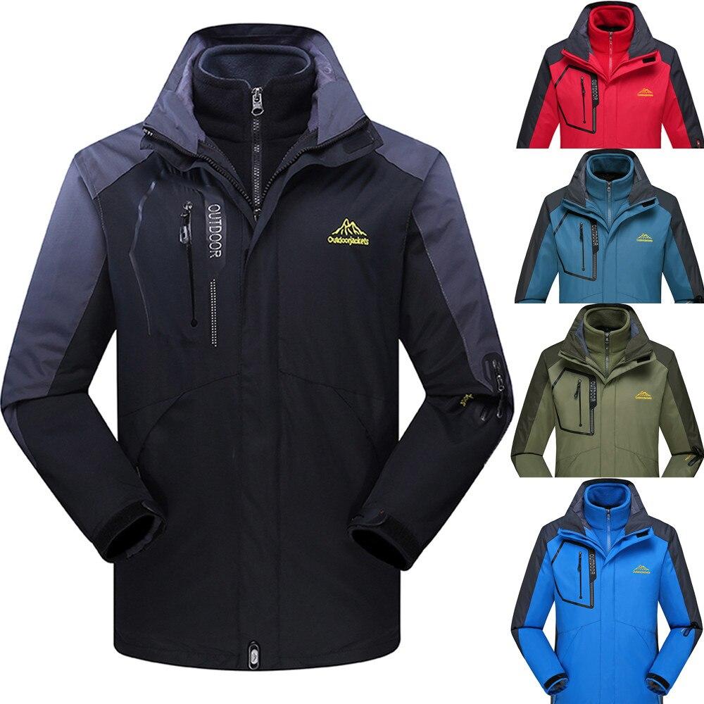 Outono inverno masculino forro de lã ao ar livre plus size hoodie falso design de duas peças conjunto retalhos esporte assalto casaco m0907