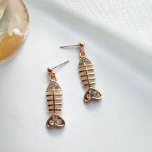 Fashion Boho Unique Design Fish Studs Earrings Fish Bones Shaped Earrings For Women Dangle Jewelry T