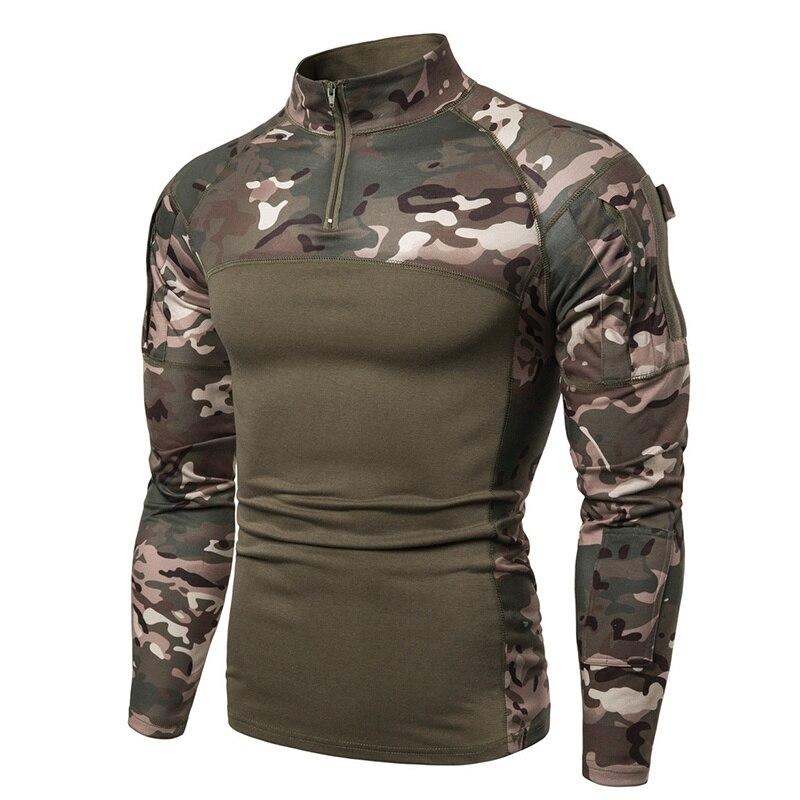 Ropa militar táctica de camuflaje, camisa de Combate de Asalto multicámara ACU, Camiseta ajustada de manga larga del ejército, traje del ejército USMC