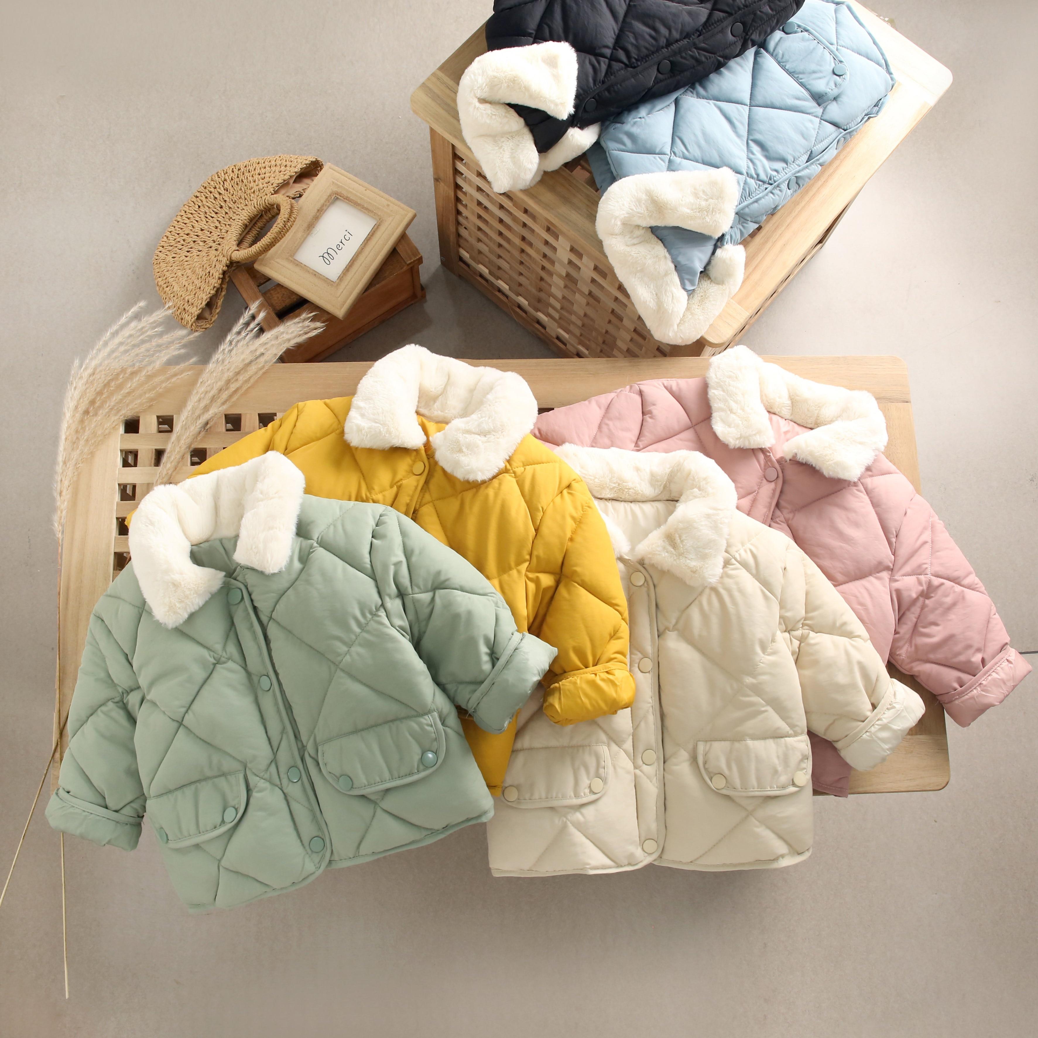 AliExpress - 2021 New Winter Children's Warm Cotton Jackets Girls Clothes Kids&Babys Rabbit Fur Collar Coats Korean Style For Boys Outerwears