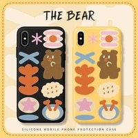 iphone case iphone phone case weather comic bear apple 11 promax phone case iphone xr phone 12 pro max case 78 se xr candy color