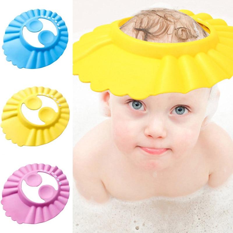 Многофункциональная детская шапка для ванны Регулируемая Водонепроницаемая шапка с козырьком для защиты ушей от мытья волос шампуня наушн...