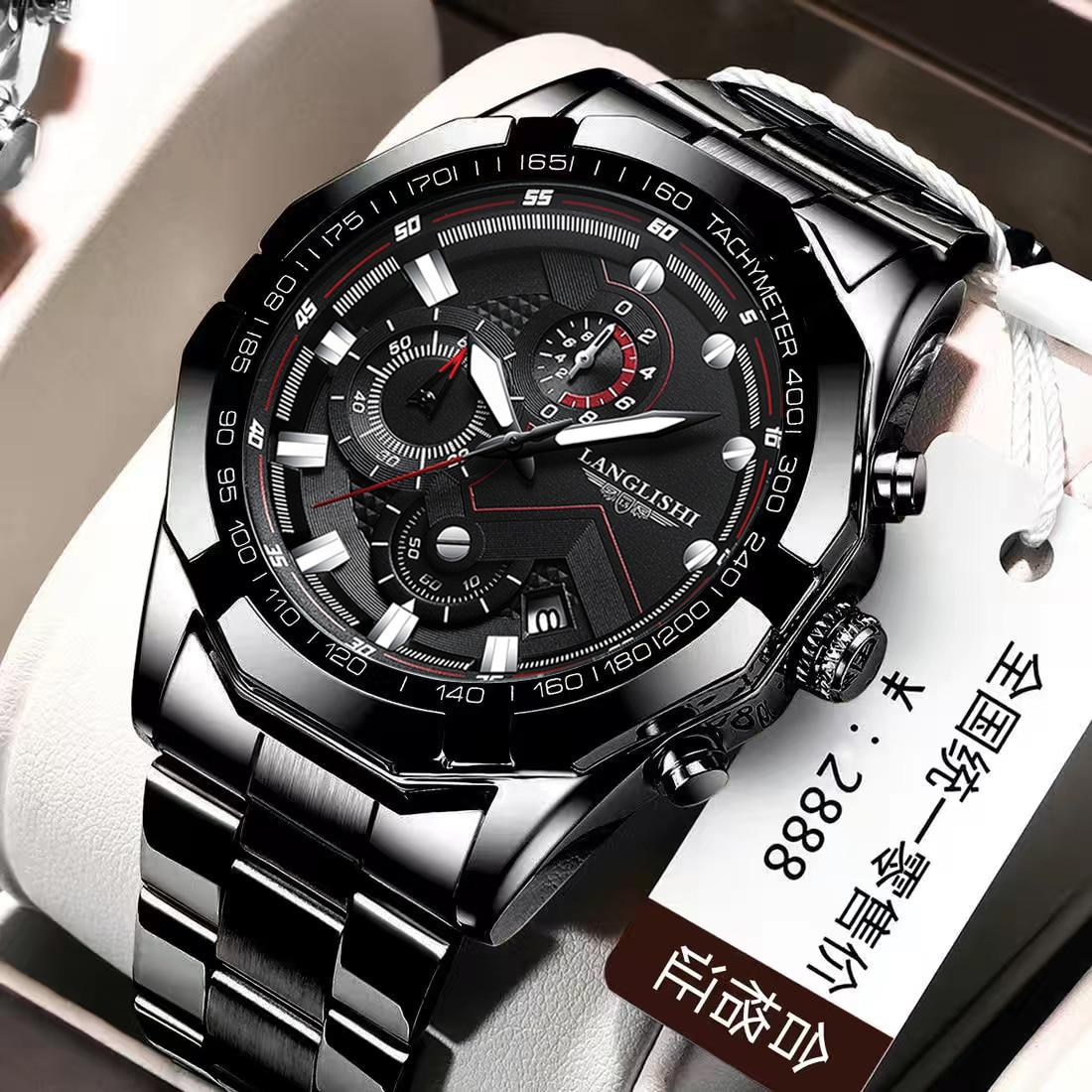 LANGLISHI 2021 Mens Watches Big Dial Sport Wristwatch Top Brand Luxury Quartz Clock Watch Man Waterp