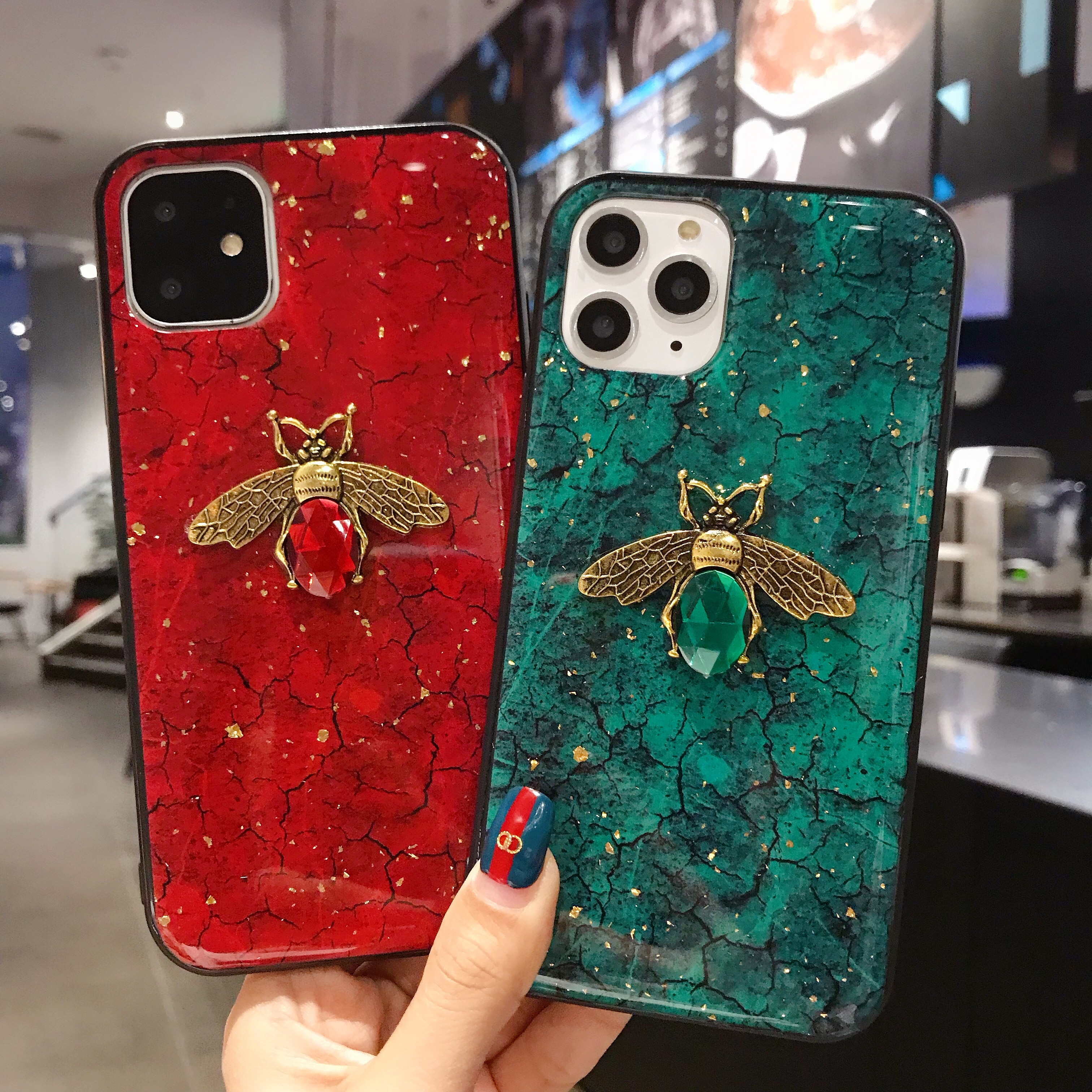 3D чехол для телефона с драгоценными камнями и пчелами для iPhone11, чехол для iPhone 11 Pro Max XR XS Max 7 8 6 6s Plus, чехол с мраморными блестками, задняя крышка...