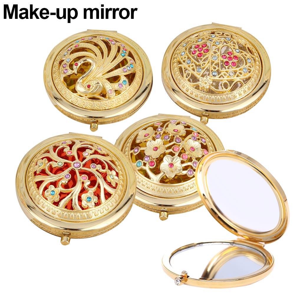 Nuevo espejo de bolsillo plegable redondo compacto de doble cara cristal hueco Espejos de maquillaje SMR88